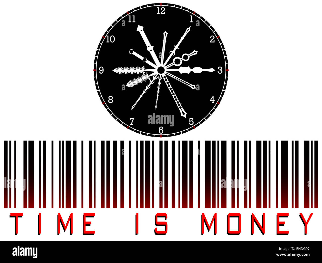 time is money bar code - Stock Image
