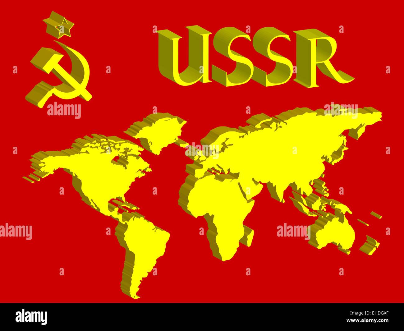 Ussr symbol and world map stock photo 79589287 alamy ussr symbol and world map gumiabroncs Image collections