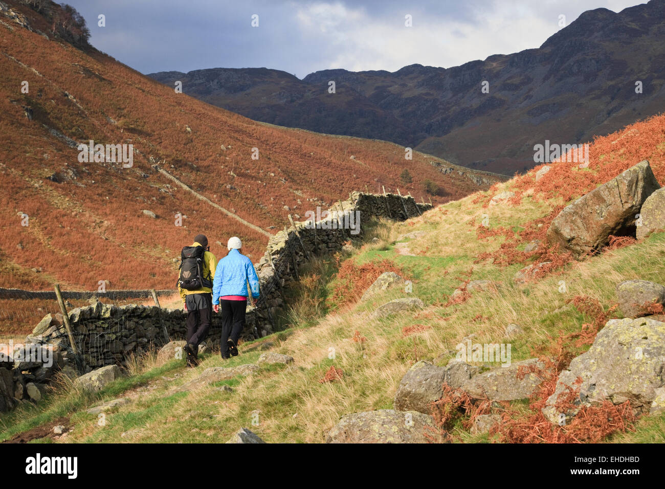 Two people walking on Cumbria Way path through Langstrath Valley in the Lake District, Borrowdale, Cumbria, England, - Stock Image