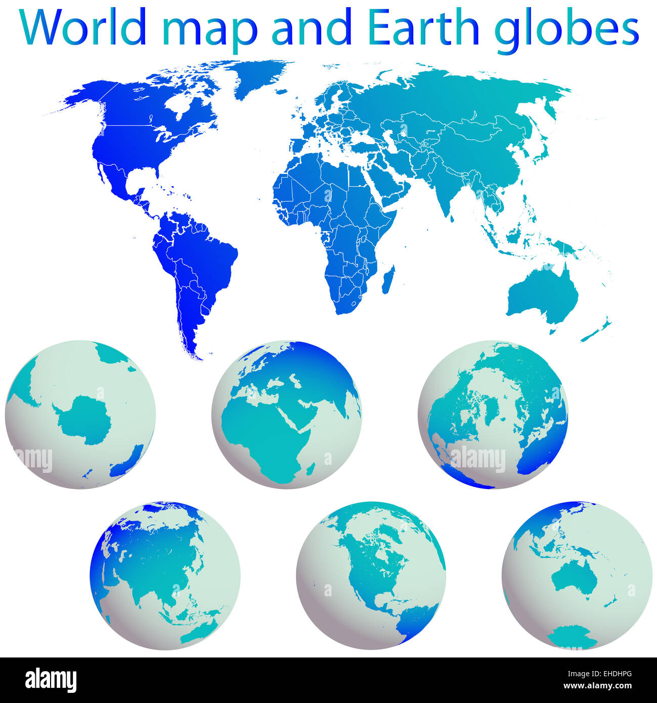 world map and earth globes - Stock Image