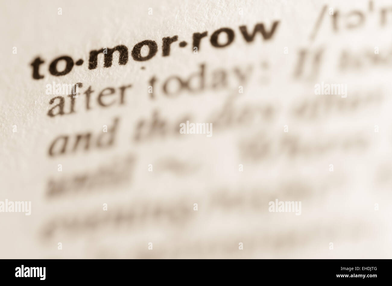 Definition of word tommorow  in dictionary - Stock Image