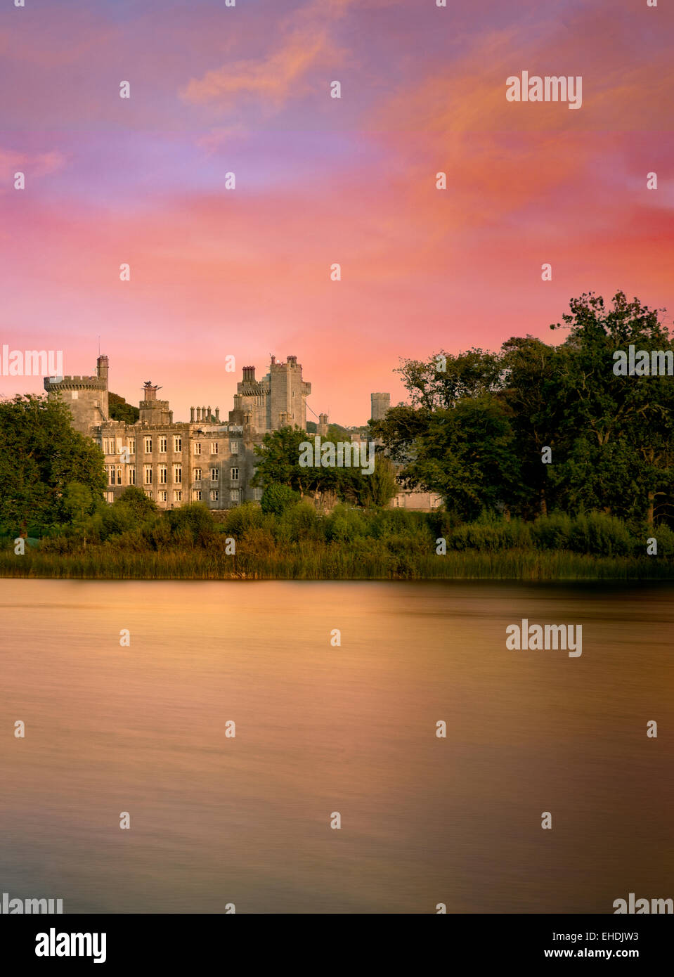 Pond and Dromoland Castle at sunrise.. Ireland - Stock Image