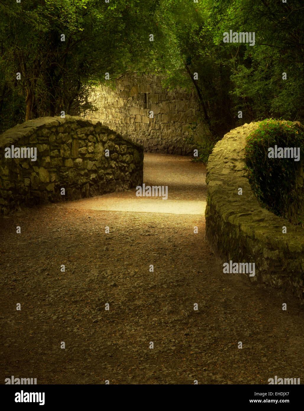 Walkway over bridge. Bunratty Castle, ireland - Stock Image