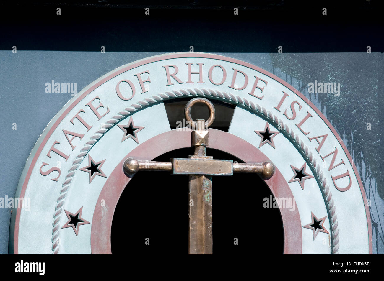 State of Rhode Island seal in Providence Stock Photo