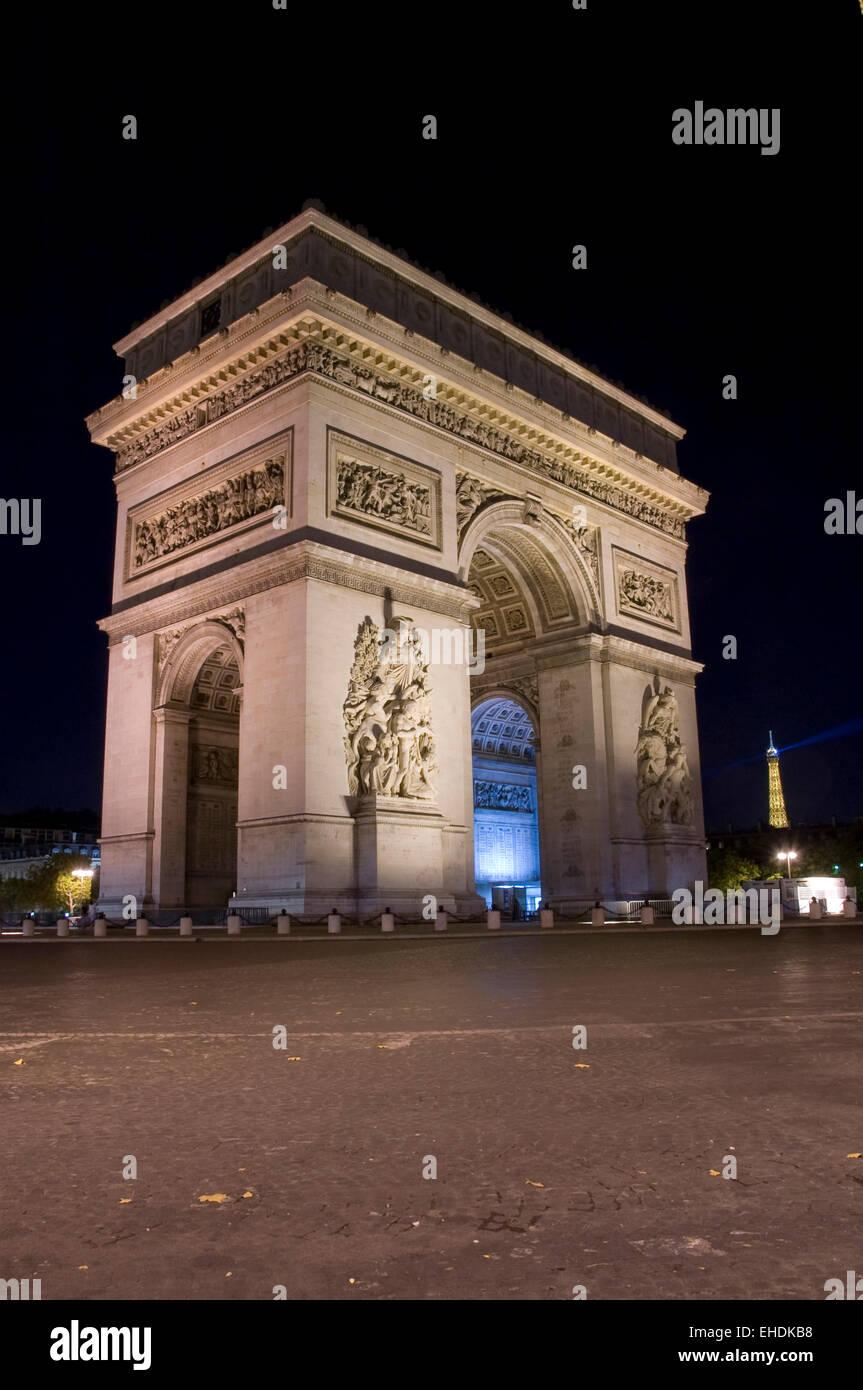 Arc de Triomphe in Paris France Stock Photo
