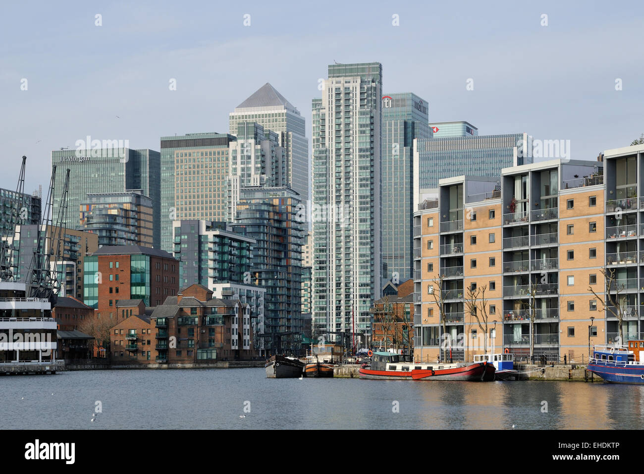 Canary Wharf, London Docklands, viewed from Millwall Outer Dock - Stock Image