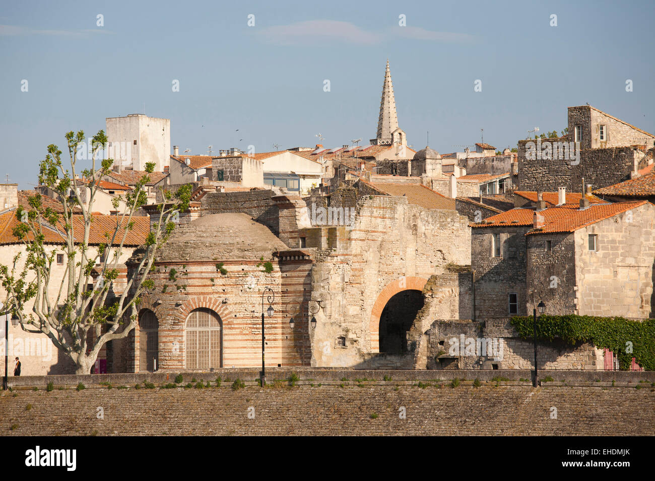 city view and rhone river, arles, camargue, provence, france, europe - Stock Image