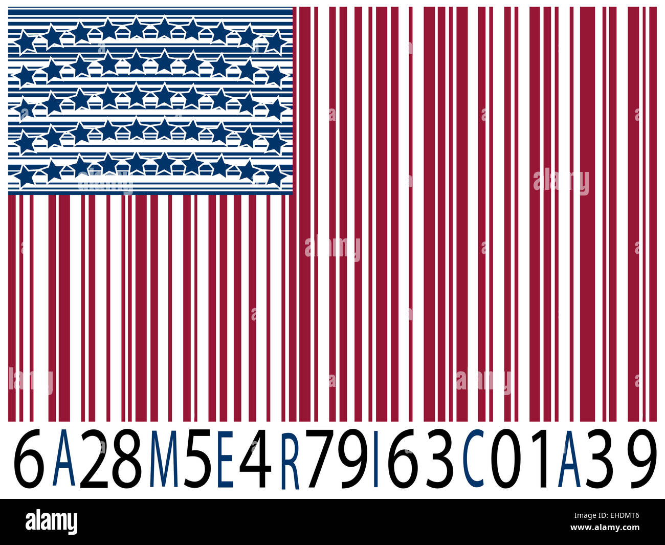 america bar codes flag - Stock Image