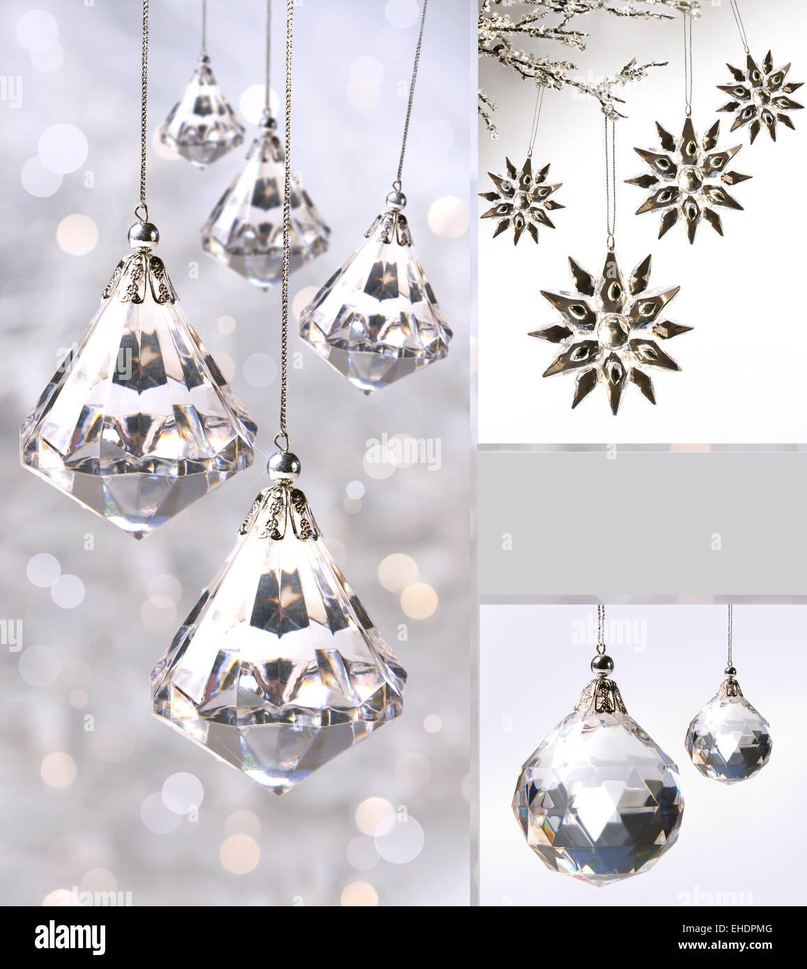 Crystal christmas ornaments against silver Stock Photo: 79593824 - Alamy