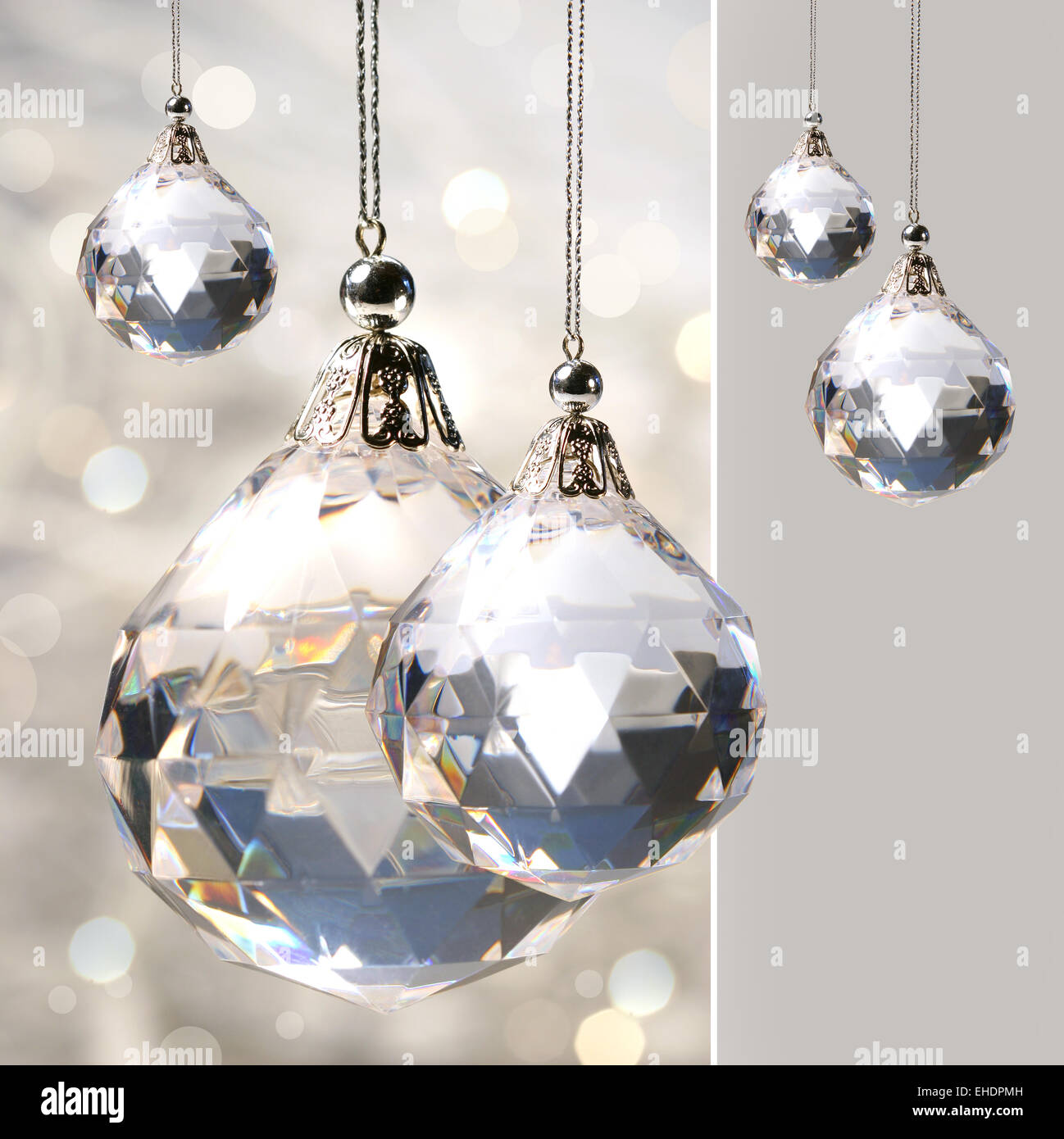 Crystal ornament hanging with lights Stock Photo