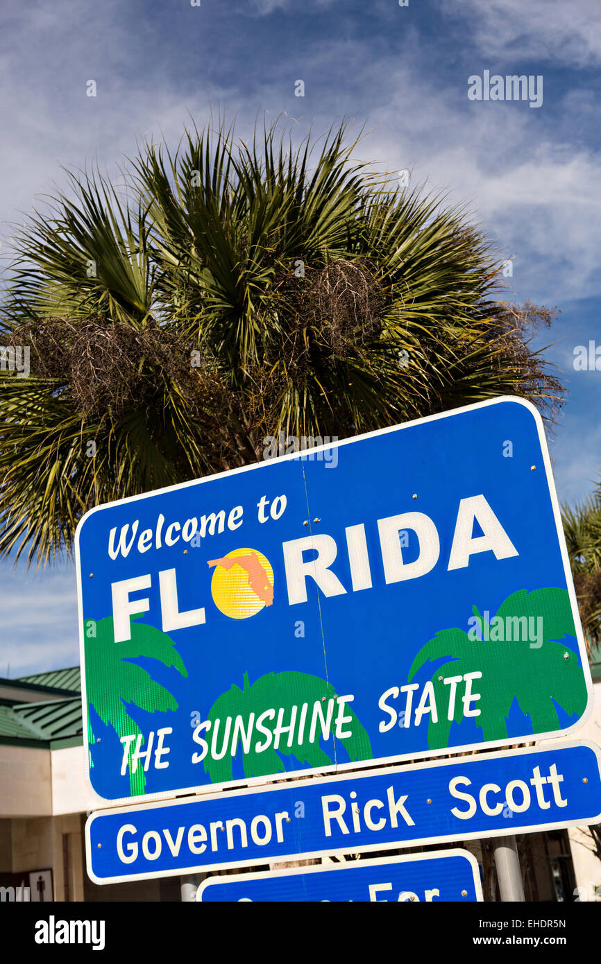 Welcome Florida Sign Sunshine State Stock Photos & Welcome