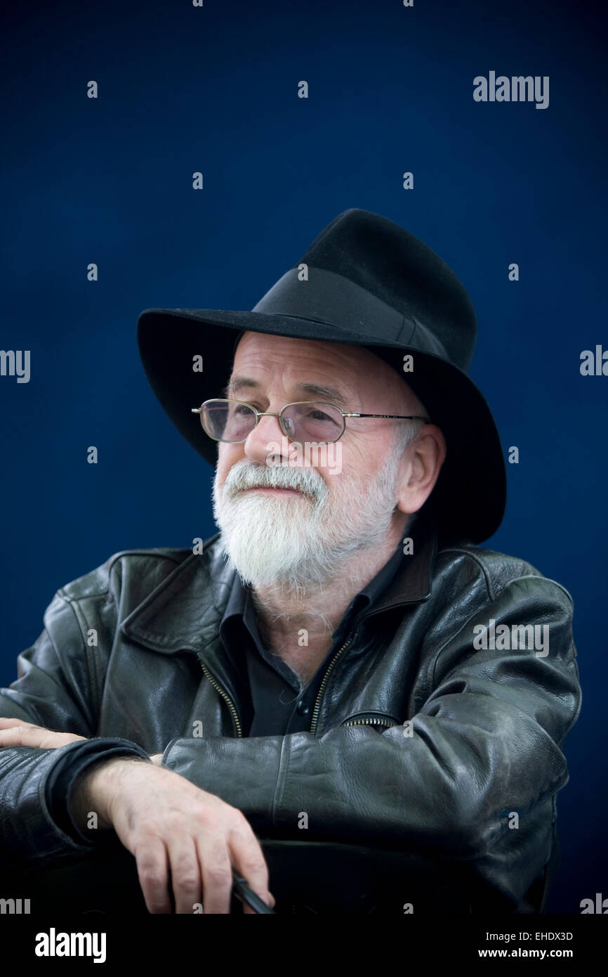 English fantasy, science fiction and children's author Terry Pratchett pictured at the Edinburgh International - Stock Image