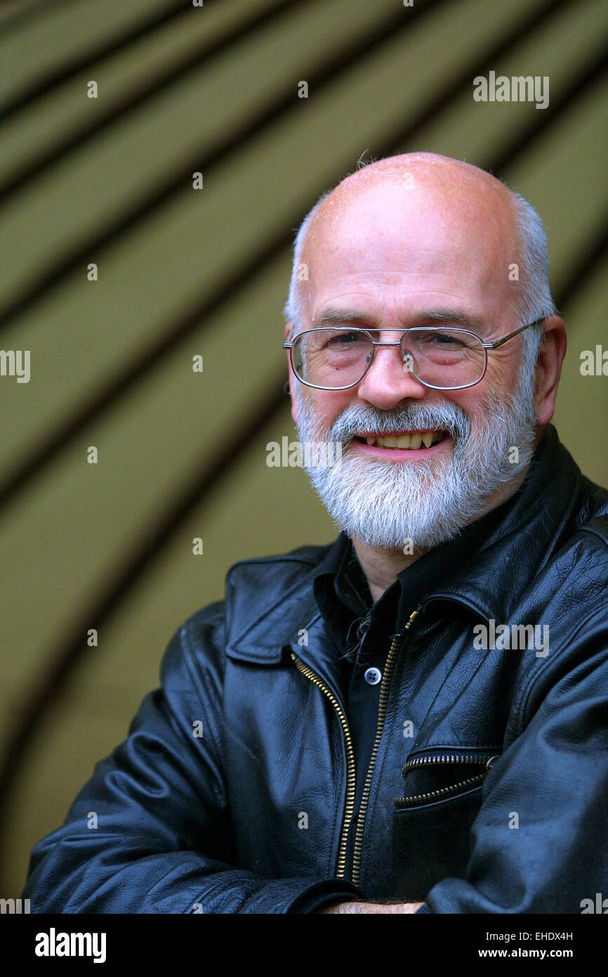 Author Terry Pratchett pictured at the Edinburgh International Book Festival, where he gave a talk about his work. - Stock Image
