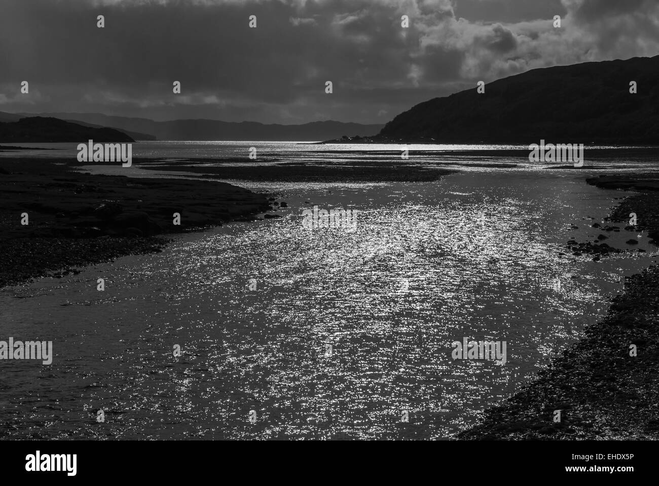A black and white image of Loch Slapin on the Isle of Skye inner hebrides, Scotland - Stock Image