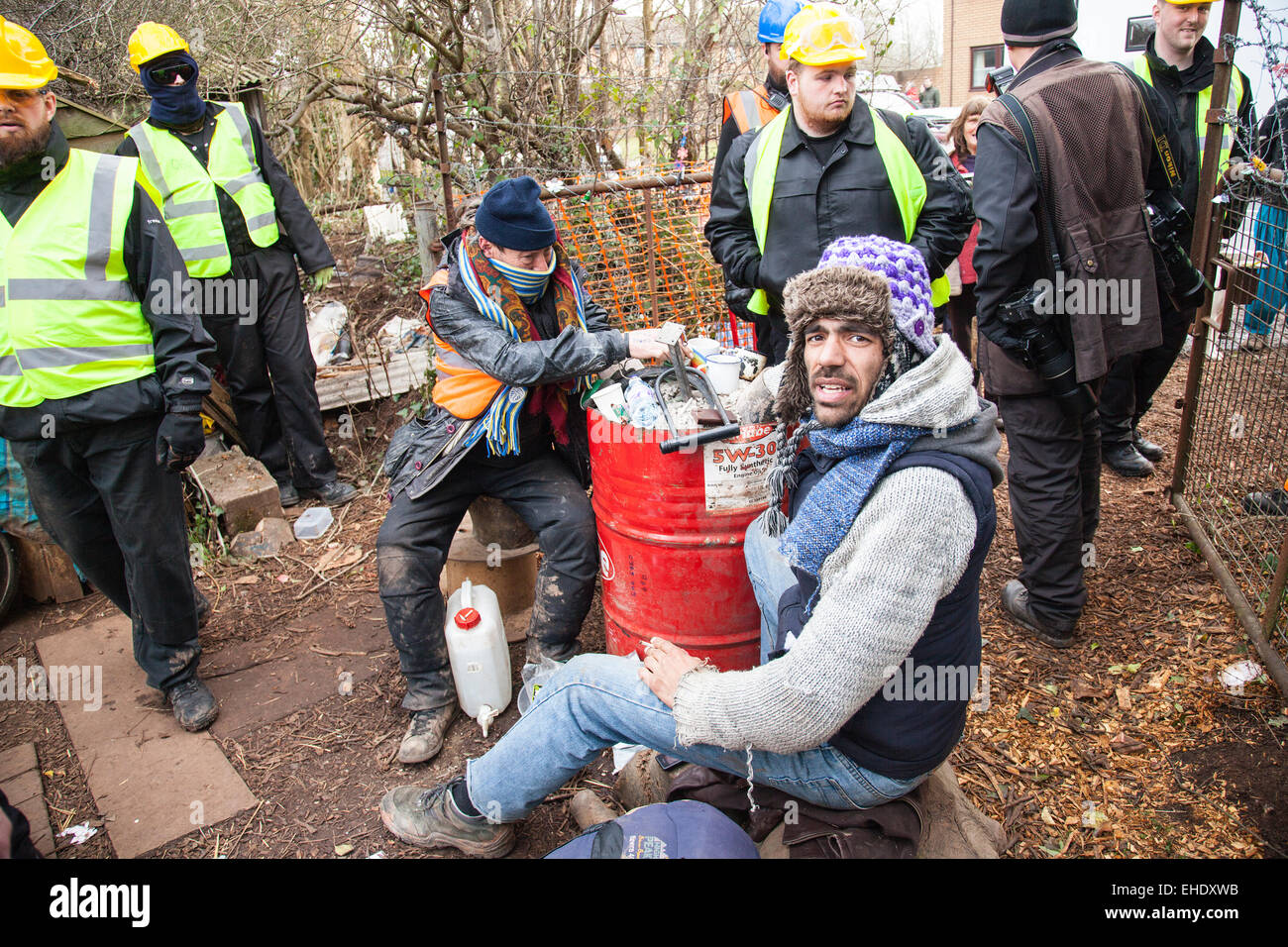 Bristol, UK. 12th Mar, 2015. Bailiffs moved to evict protesters who are preventing work commencing on a new Metrobus - Stock Image