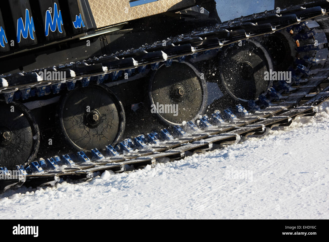 Working Piste machine (snow cat) detail - Stock Image