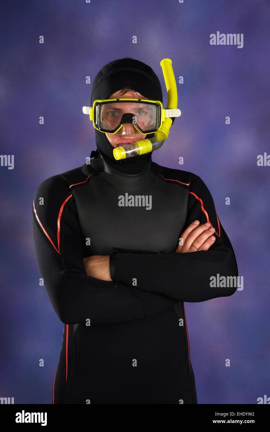 Underwater diver in studio Stock Photo