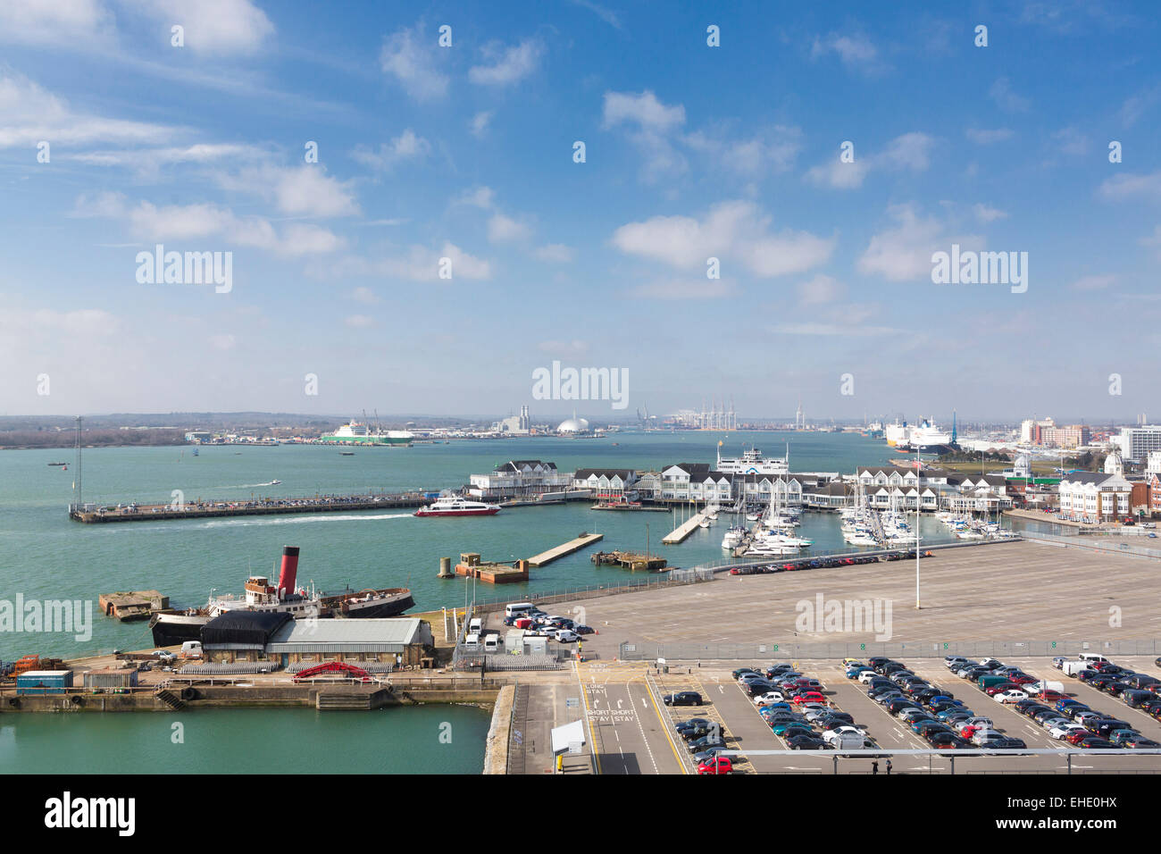 Town Quay in Southampton looking west from the Eastern Docks. Picture date: Saturday March 7, 2015. Photograph by - Stock Image