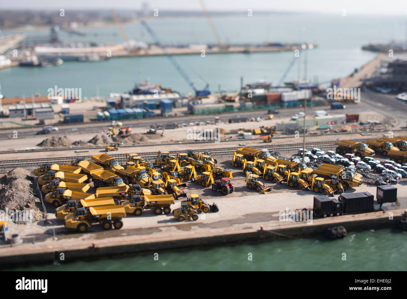 Southampton's Eastern Docks looking south. Picture shows cars and JCB's awaiting export. Picture date: Saturday - Stock Image