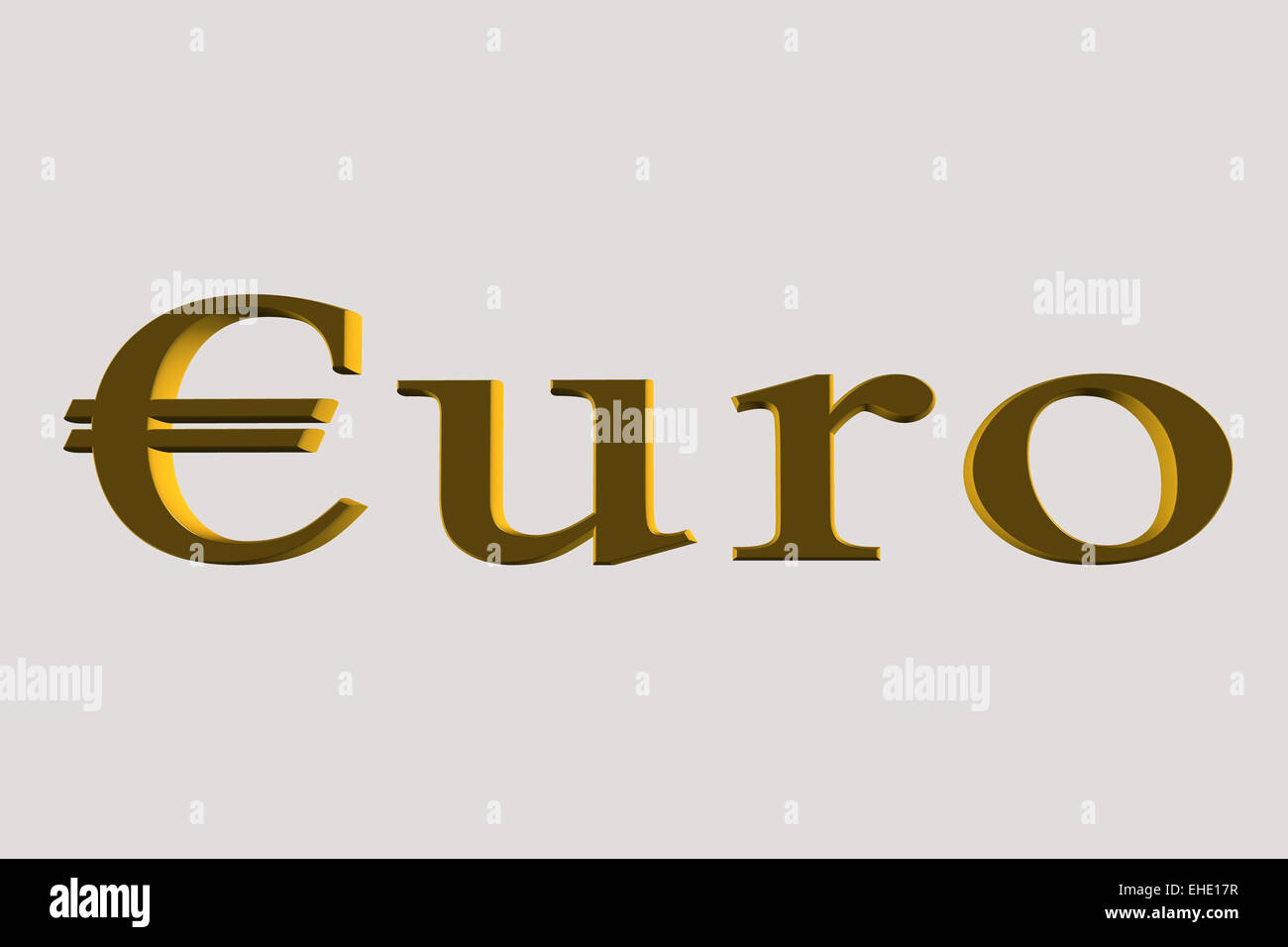 euro word in gold Stock Photo