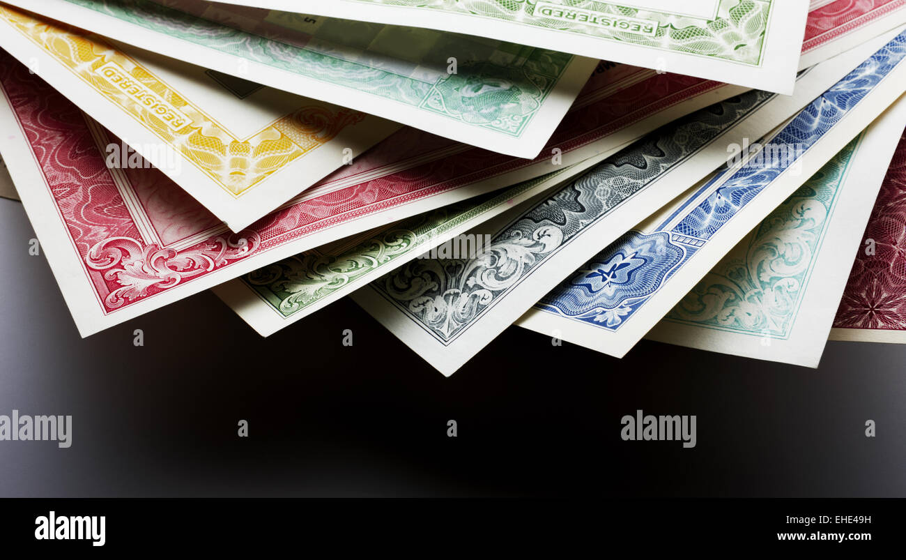 Stocks and Bonds Closeup - Stock Image