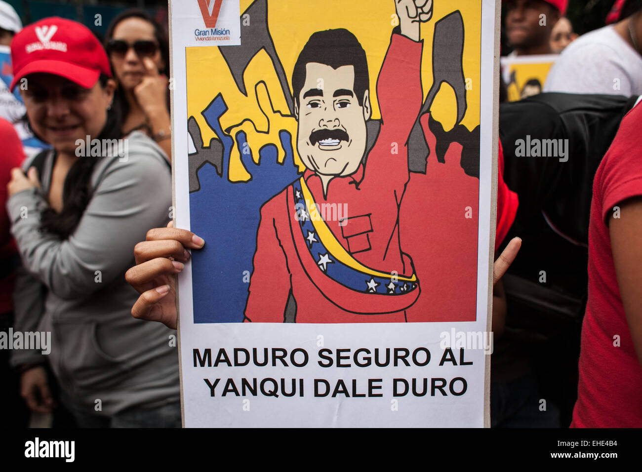 Caracas, Venezuela. 12th Mar, 2015. A person holds a banner during an 'anti-imperialist' march in Caracas, - Stock Image