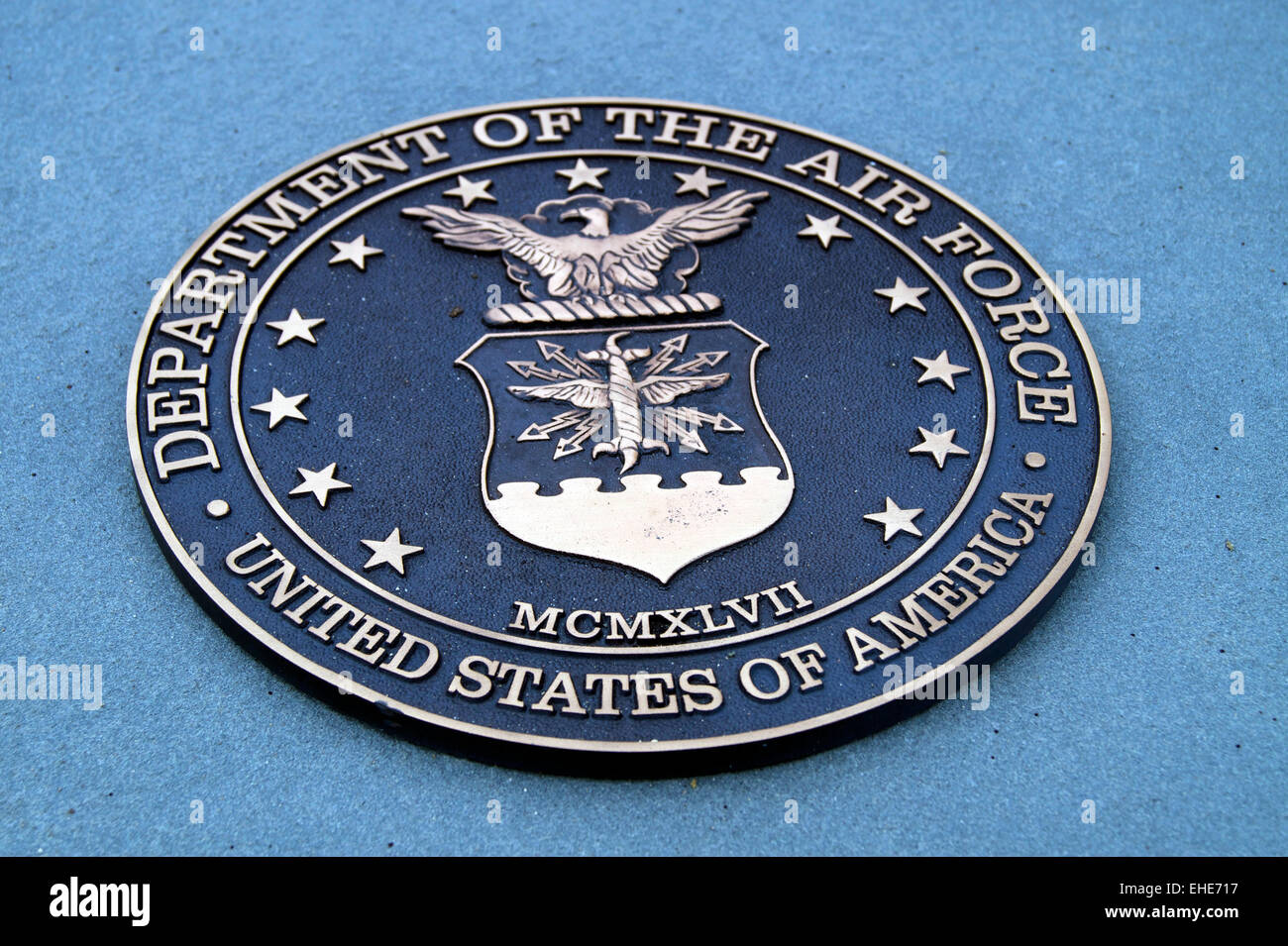 A brass relief of the Seal of the United States Air Force - Stock Image