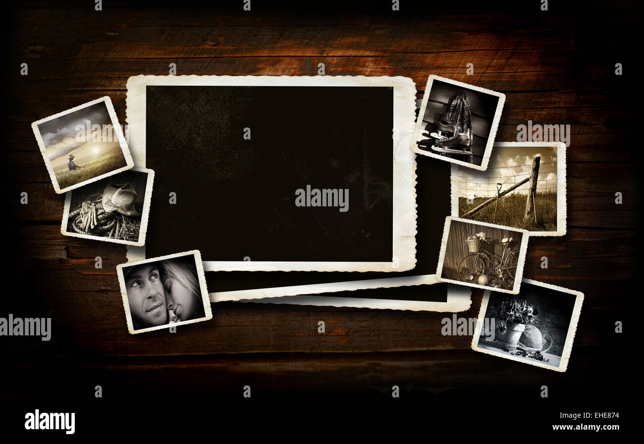 Scrap-booking  background on dark wood - Stock Image