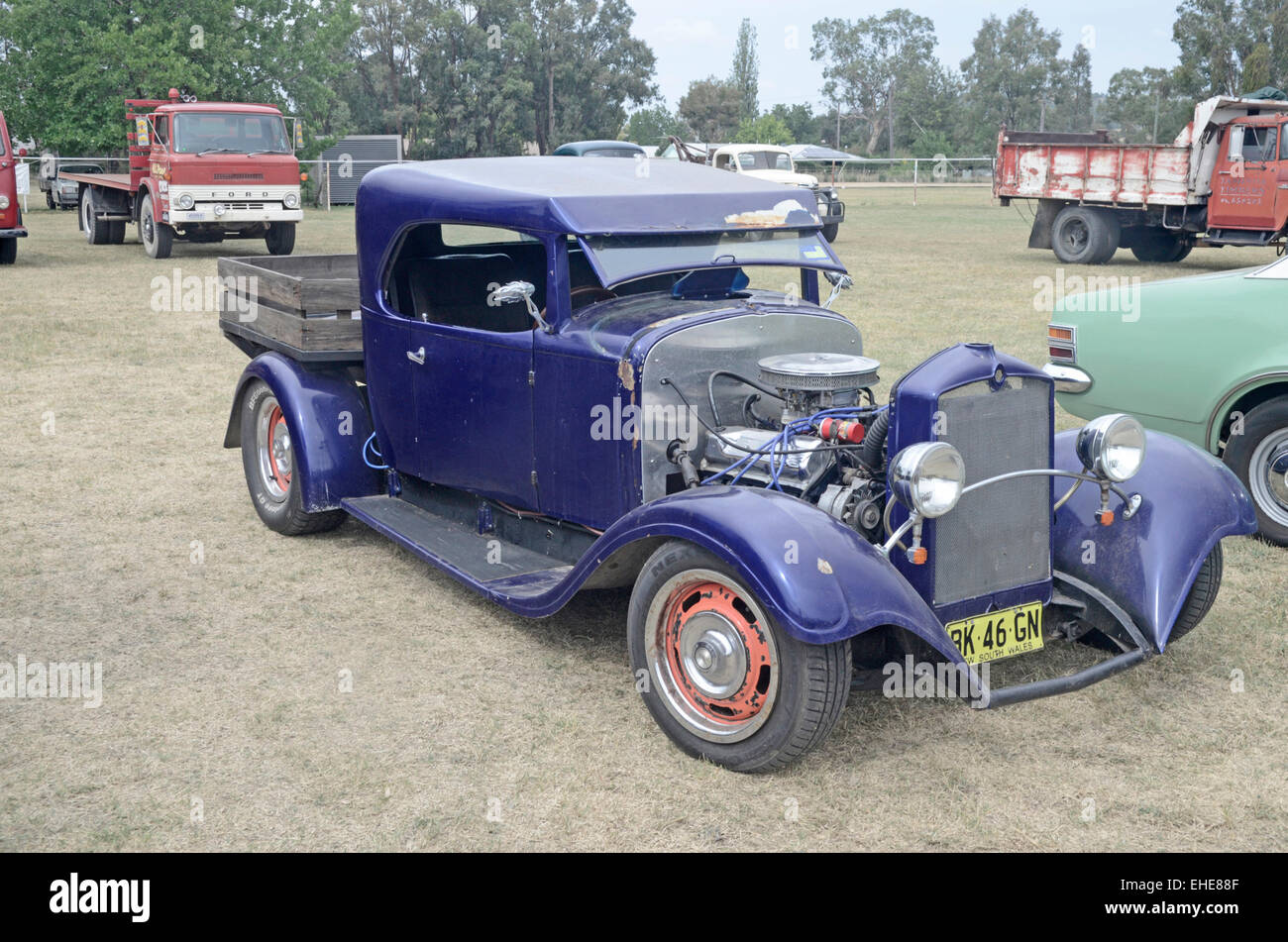 Hot Rod Ford pick up truck in need of some TLC on display Kootingal Australia - Stock Image