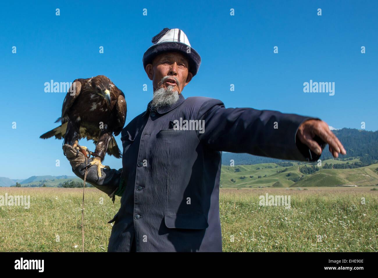 Narat Grasslands, Kazakh And Eagle - Stock Image