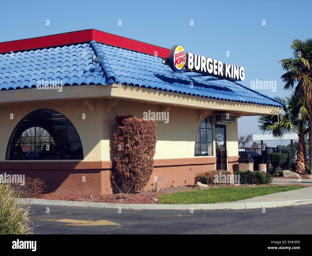 burger king fast food restaurant along interstate i 5 central stock