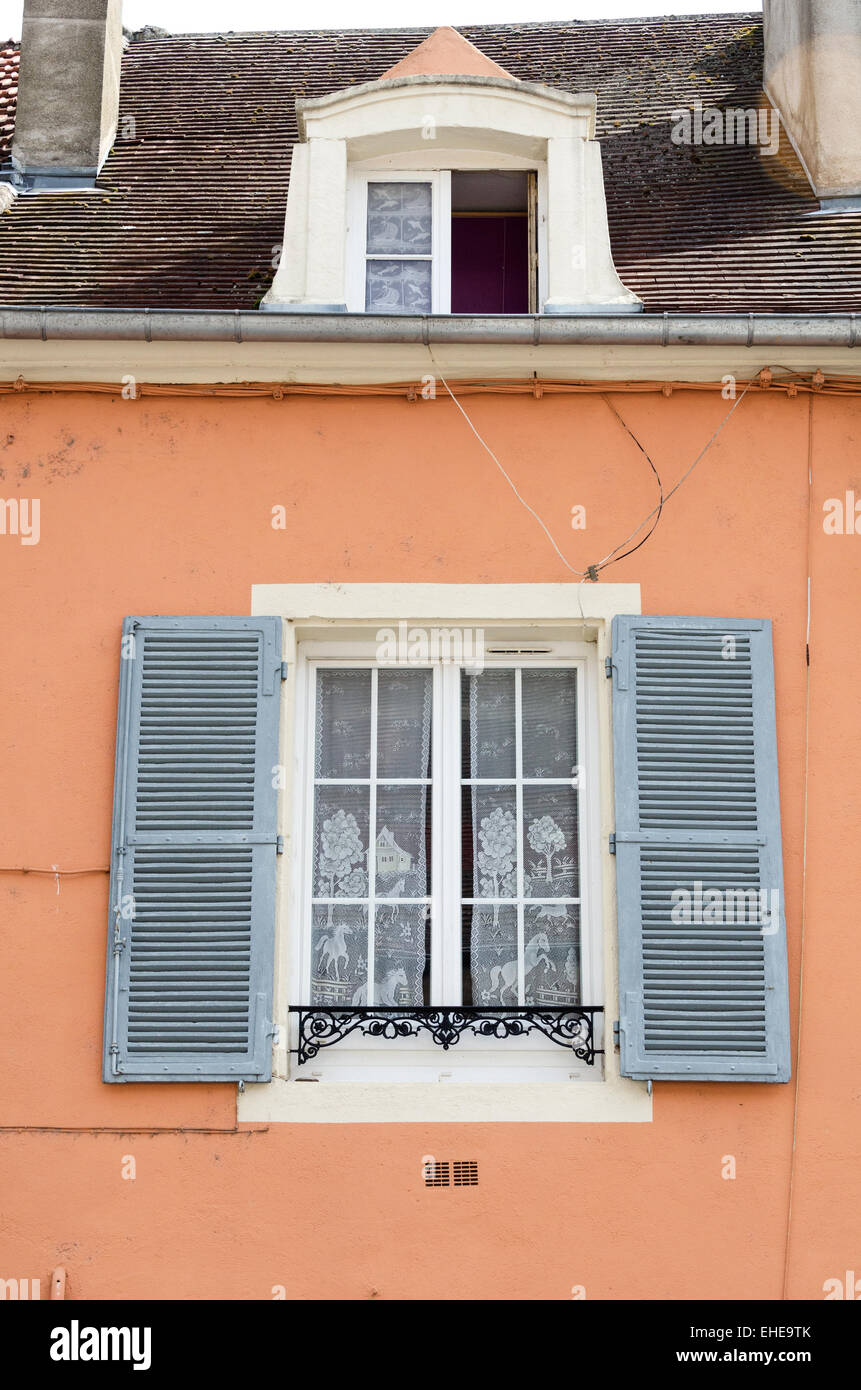 Velux Chalon Sur Saone window blue wrought iron painted stock photos & window blue