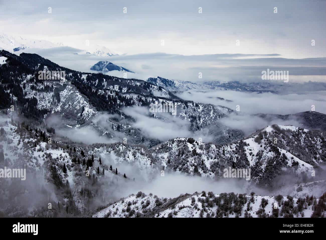 Overcast and winter mountain - Stock Image