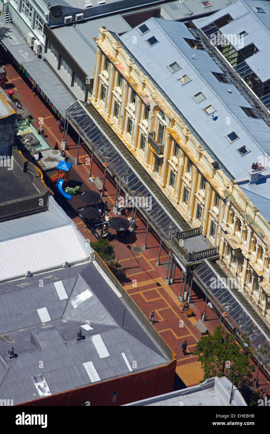 Cuba Street, Wellington, North Island, New Zealand - aerial - Stock Image