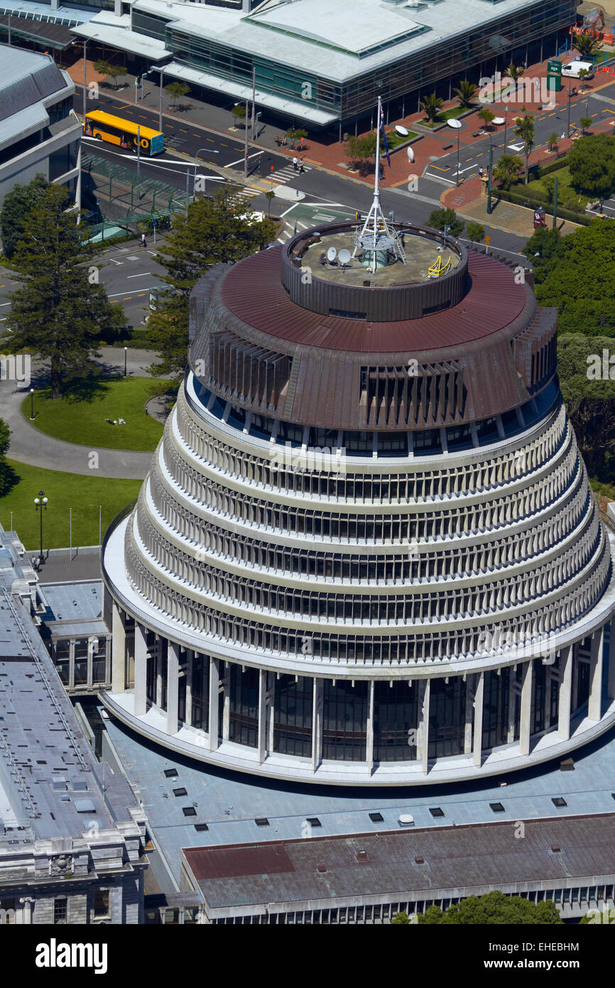 The Beehive, Parliament Grounds, Wellington, North Island, New Zealand - aerial - Stock Image