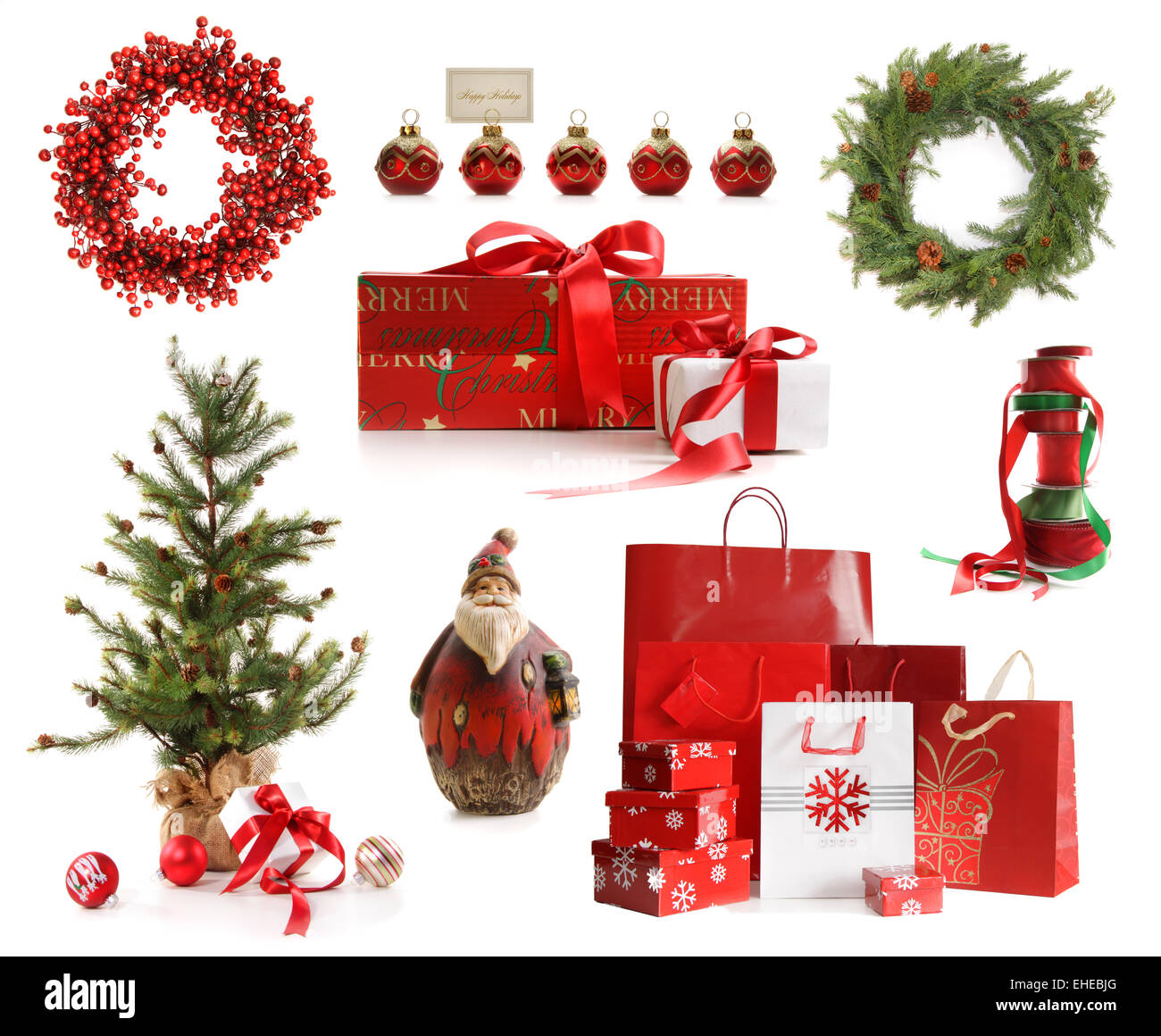 Group of Christmas objects isolated on white - Stock Image