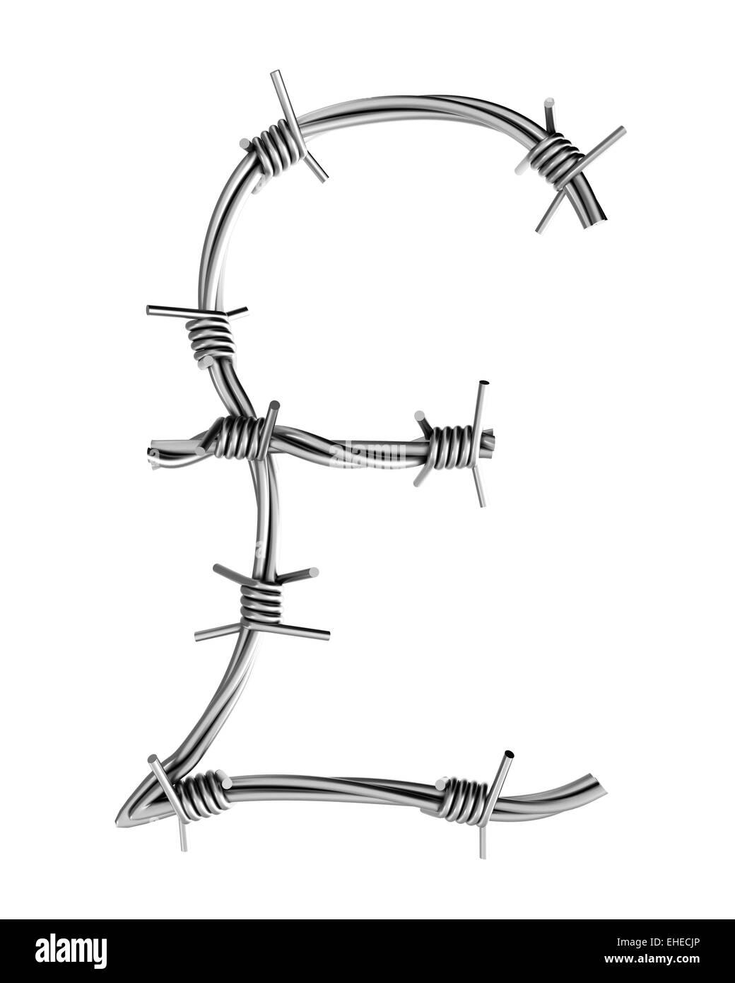 Barbed wire alphabet, pound symbol Stock Photo: 79607886 - Alamy