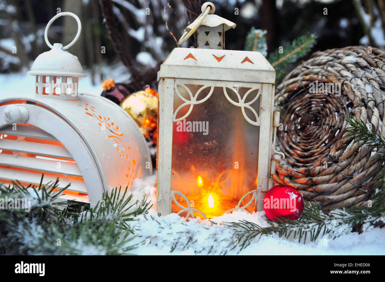 Christmas candle lantern light - Stock Image