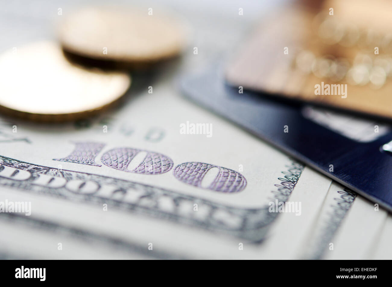 USD and credit card - Stock Image