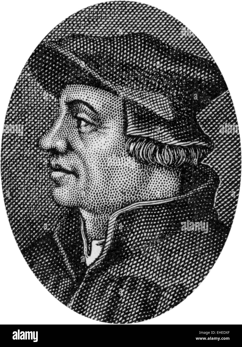 Engraving of Ulrich Zwingli, Swiss Reformer, 1484 - 1531 - Stock Image