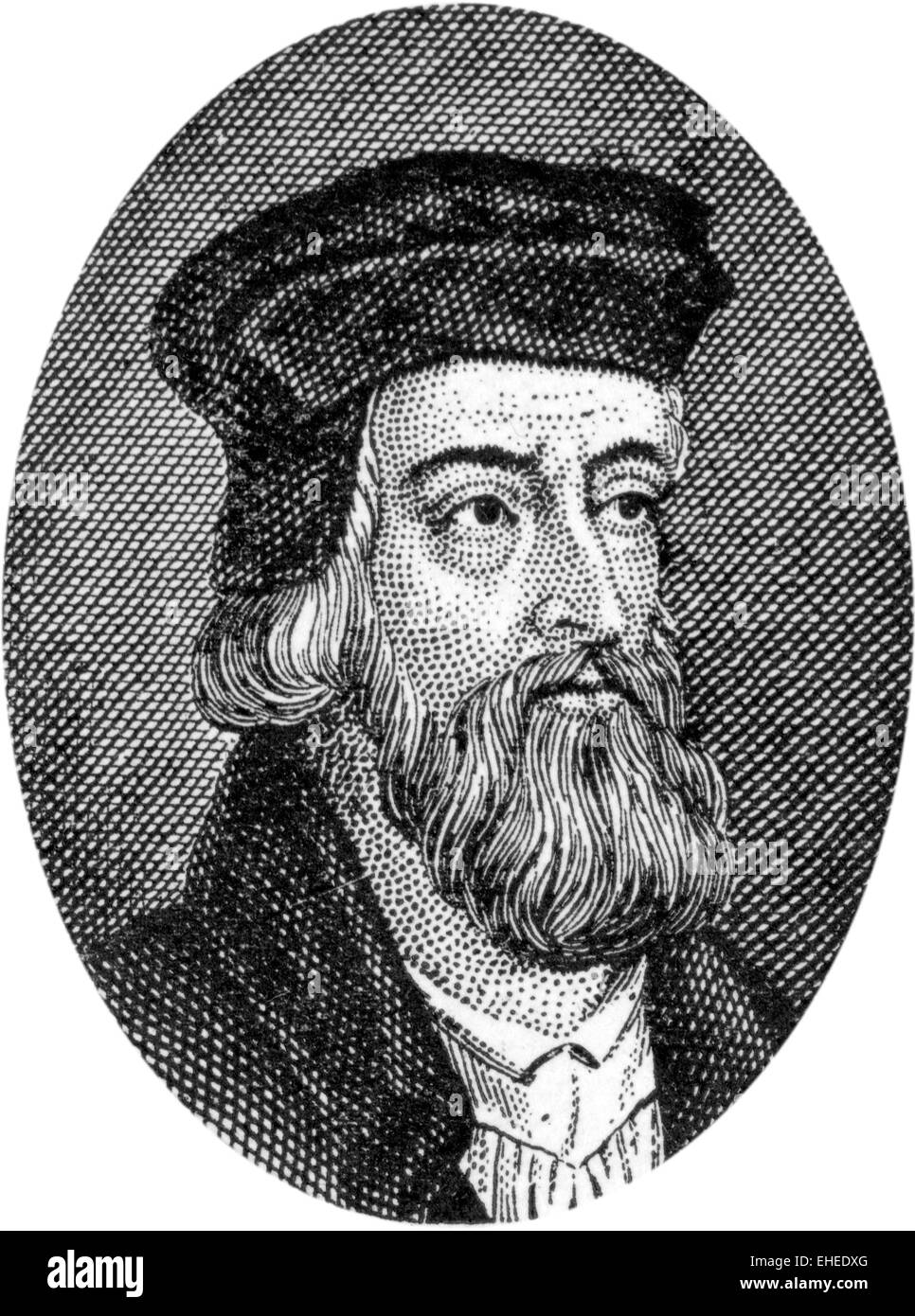 Engraving of John Wycliffe, English Bible Translator and Reformer, 1324 - 1384 - Stock Image