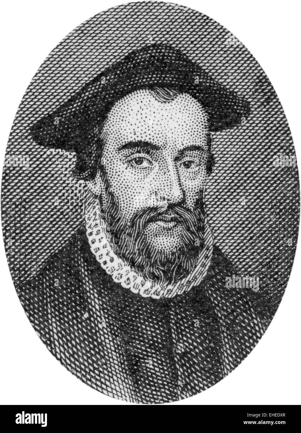 Engraving of John Bradford, chaplain in the Church of England, 1500 (?) - 1555, - Stock Image