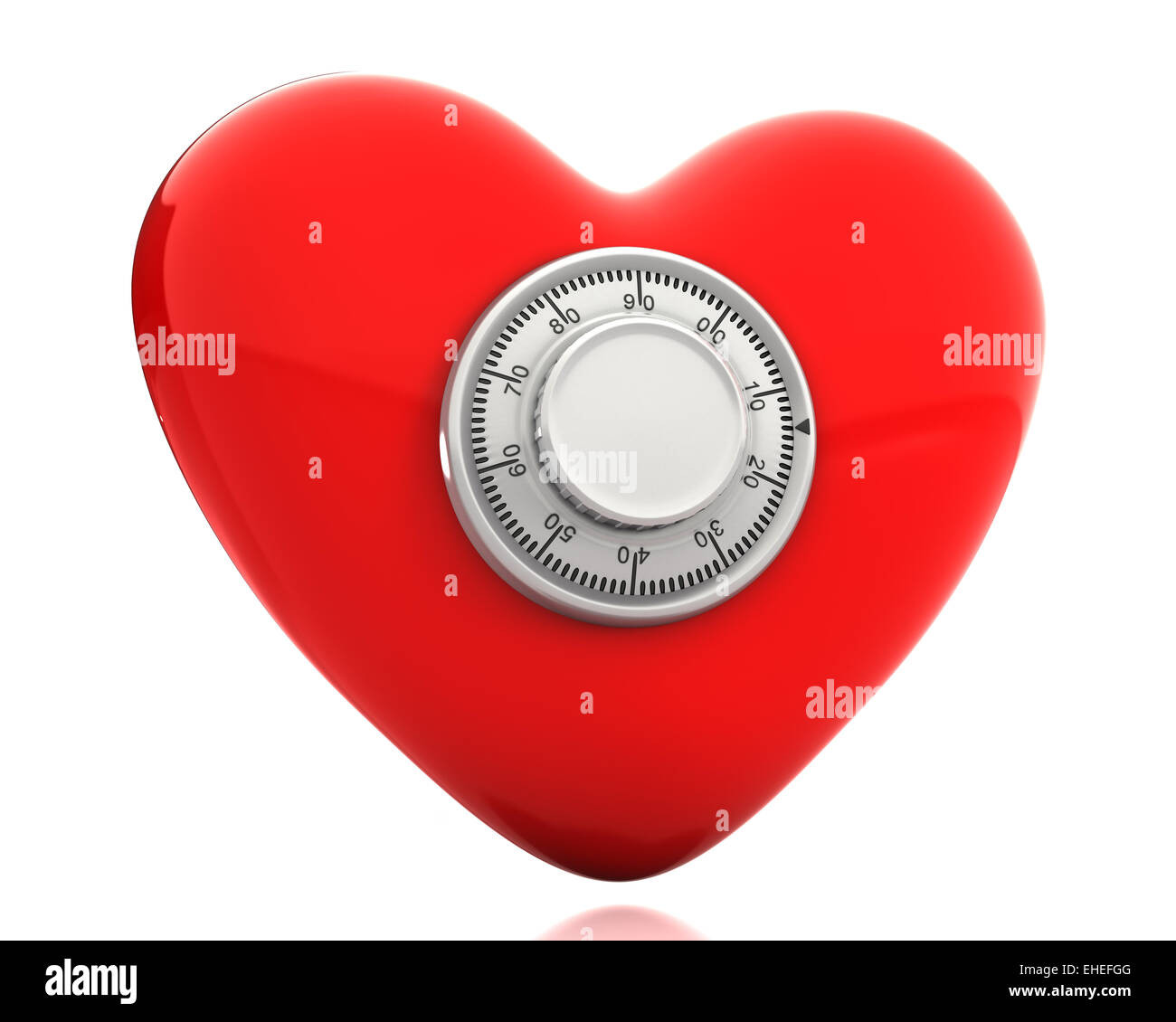 Red heart with a numeric safe lock - Stock Image