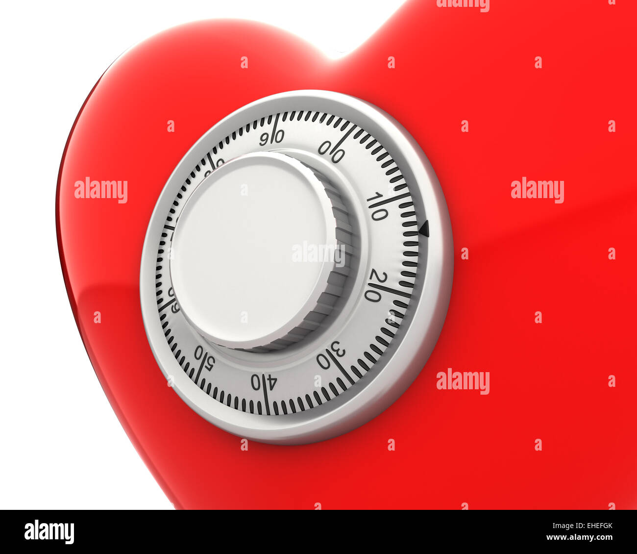 Red heart with a numeric safe lock closeup - Stock Image