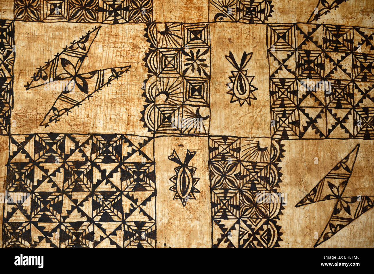background of traditional Pacific Island tapa cloth, a barkcloth made primarily in Tonga, Samoa and Fiji - Stock Image