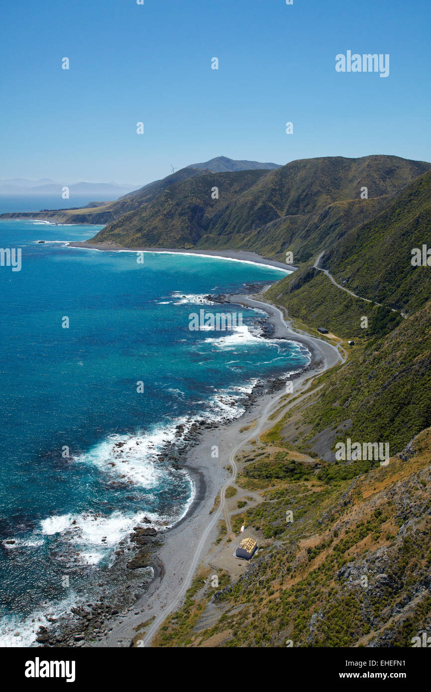 Tracks near Sinclair Head, Wellington South Coast, North Island, New Zealand - aerial - Stock Image