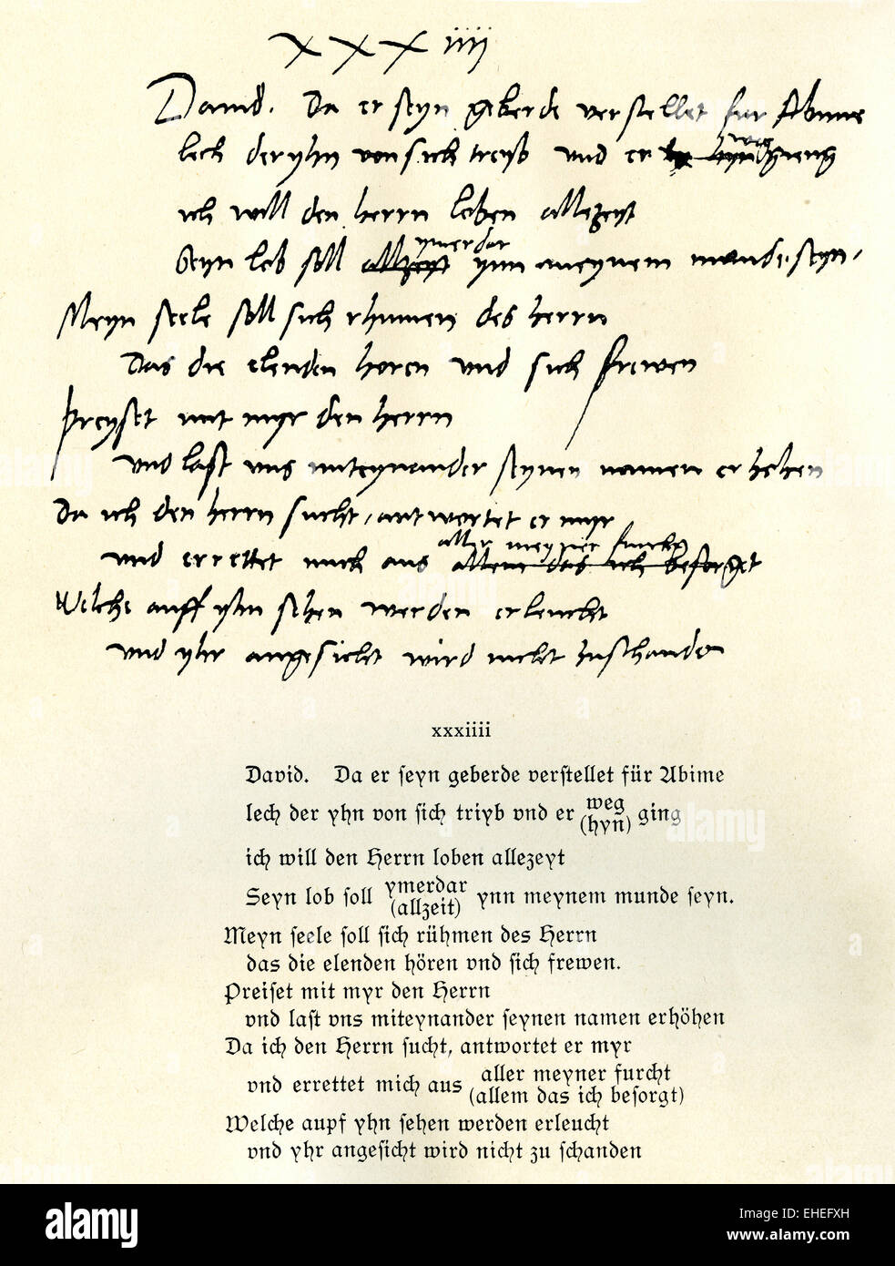 Martin Luther's translation of Psalm 34 into German - Stock Image