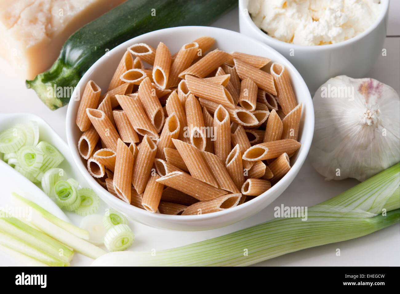 Ingredients for Pasta with Courgette Sauce - Stock Image