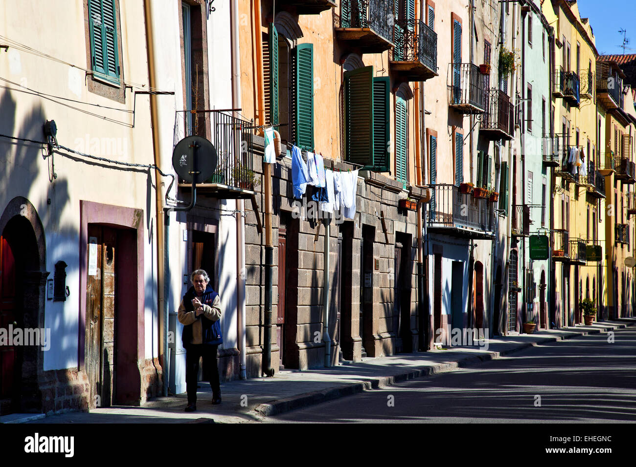street facades, Bosa, Sardinia, Italy Stock Photo