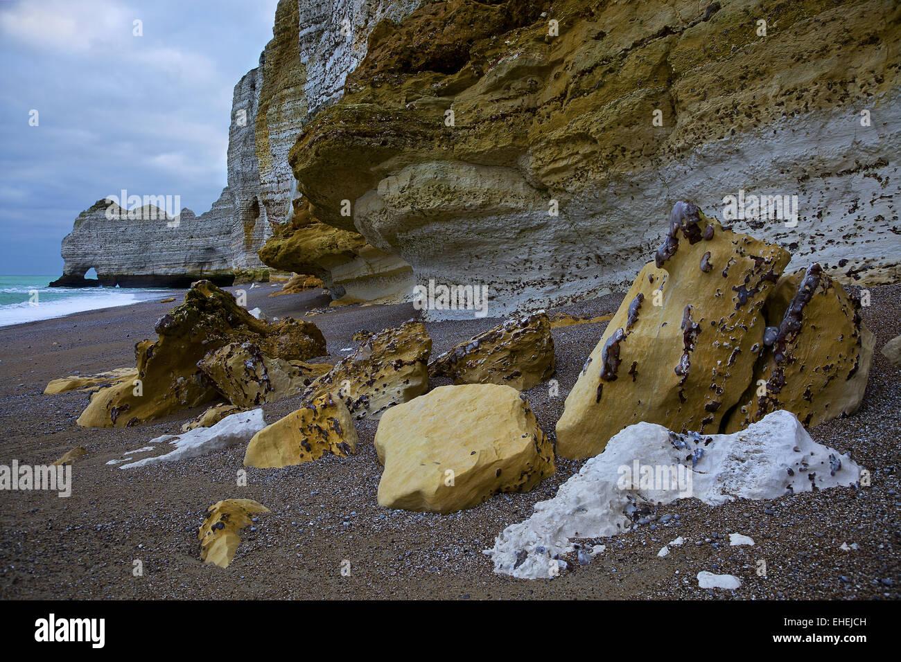 Alabaster Coast, Etretat, Normandy, France - Stock Image